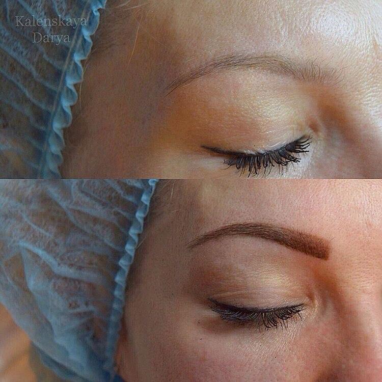 Татуаж бровей до и после процедуры