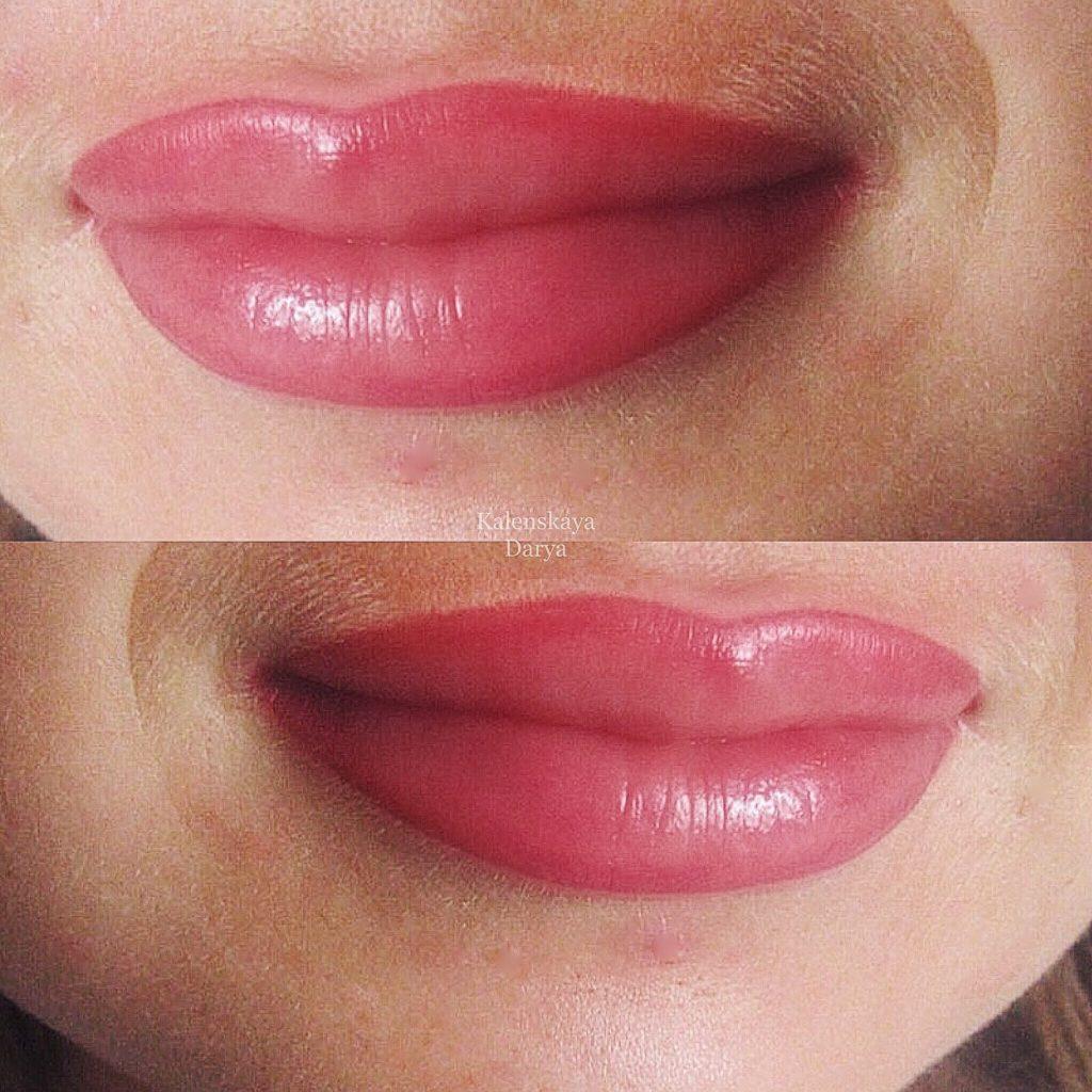 Перманентный макияж губ. Фото после процедуры