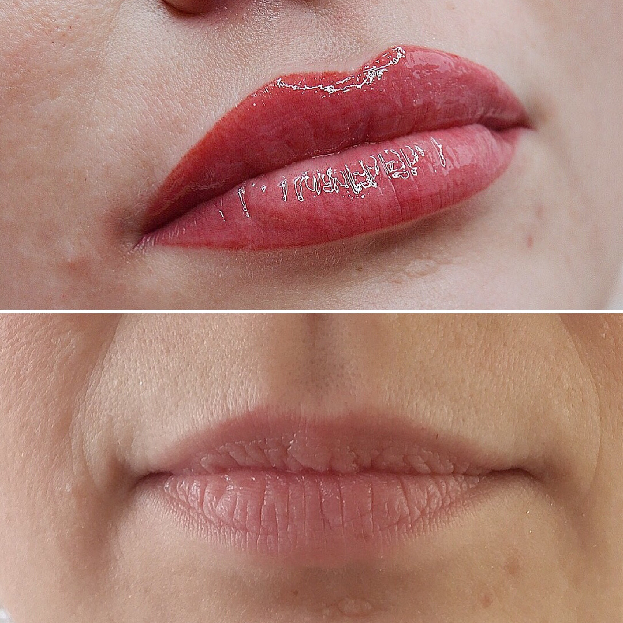 Перманетный макияж губ в акварельной технике до и после в городе Иваново
