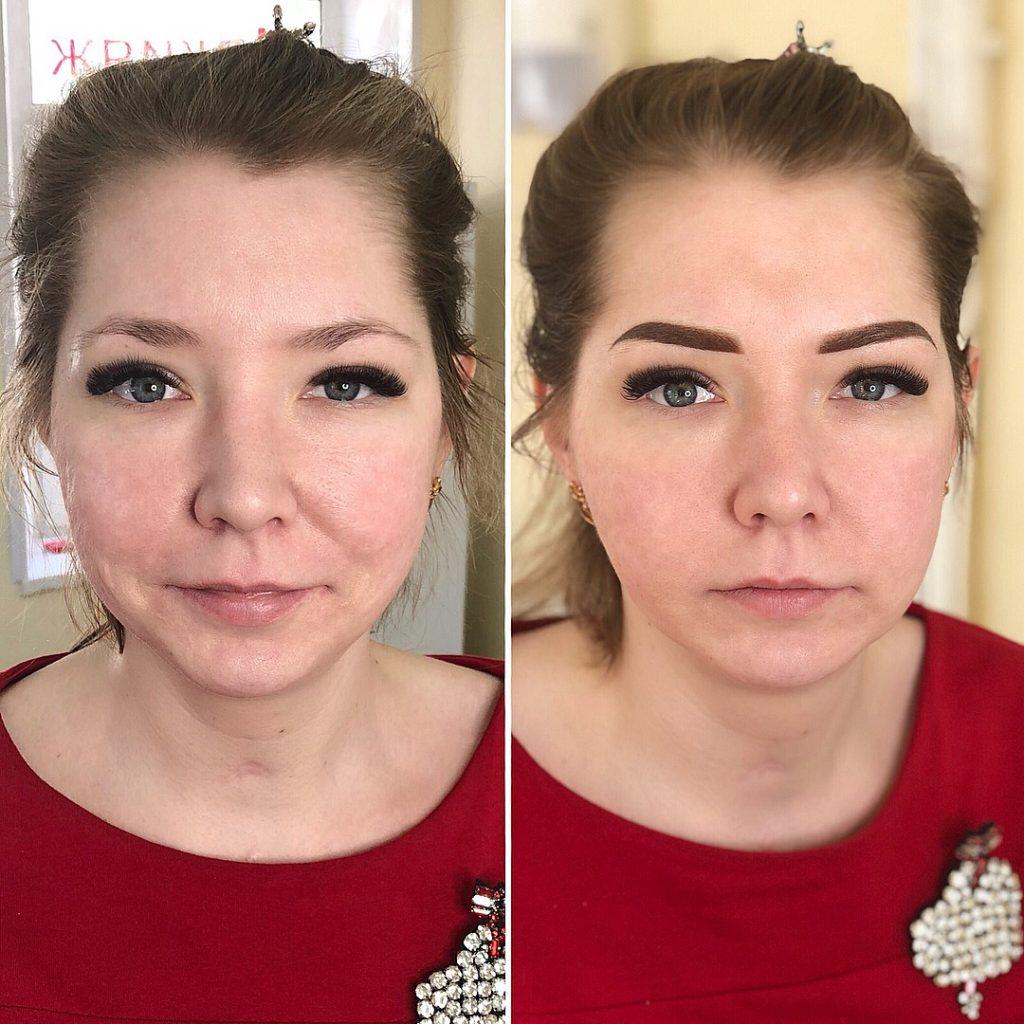Напыление бровей в Иванове до и после процедуры