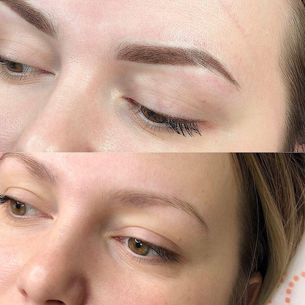 Брови до и после перманентного макияжа бровей