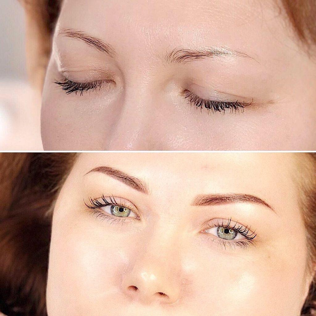 До и после перманентного макияжа бровей