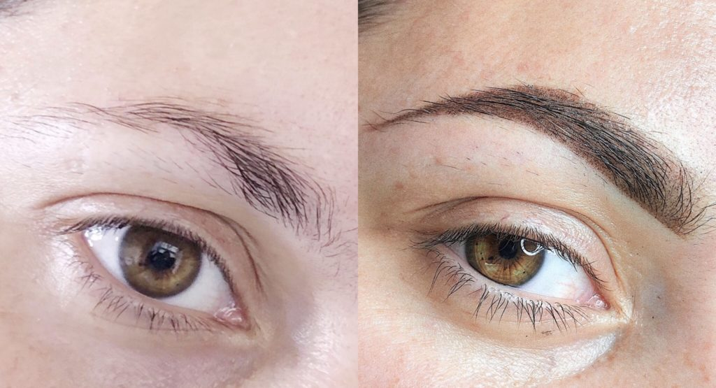 Пудровые бровки до и после процедуры