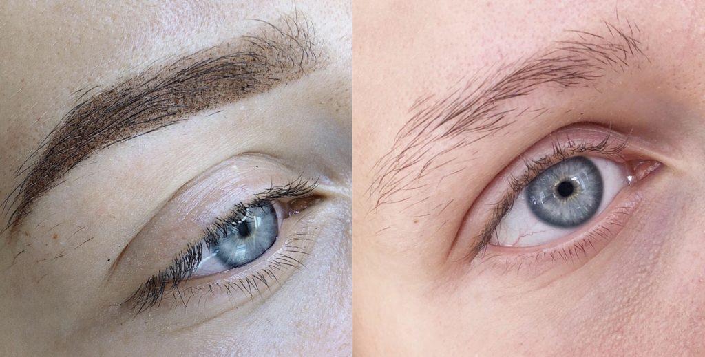 Естесвенные перманентный макияж бровей до и после